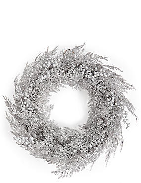 Large Silver Glitter Wreath with Berries