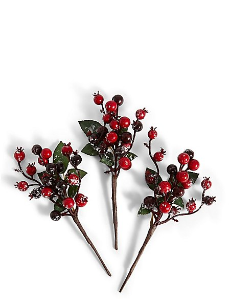 Set of 3 Berry Tree Picks