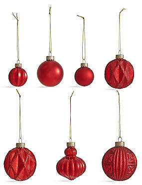 Set Of 20 Luxury Red Glass Tree Decorations