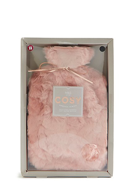 Pink Faux Fur Hot Water Bottle