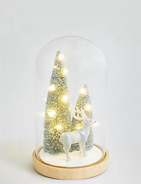 Silver Reindeer in Large Light up Cloche, , catlanding