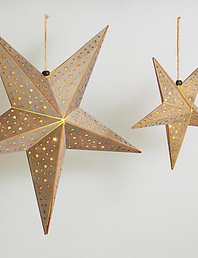 Wooden Hanging Die Cut Stars, , catlanding