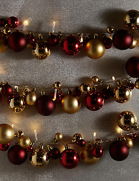 25 LED Red & Gold Bauble Lights