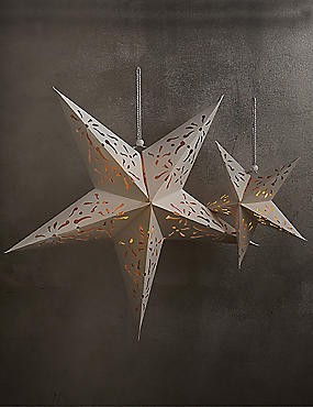 Set of 2 Decorative Light-up Stars