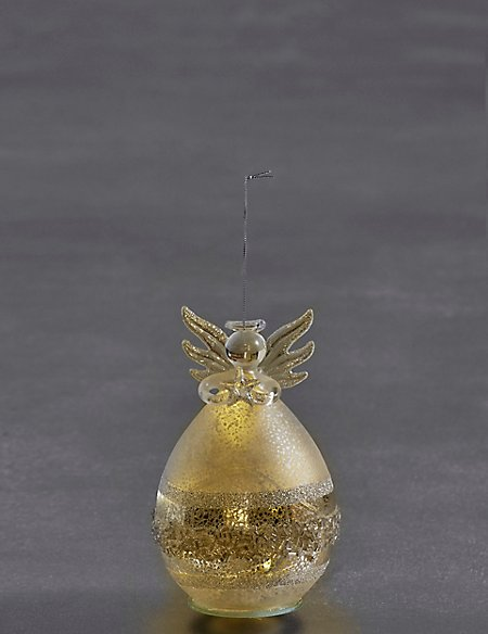 Silver Glass Light-up Angel
