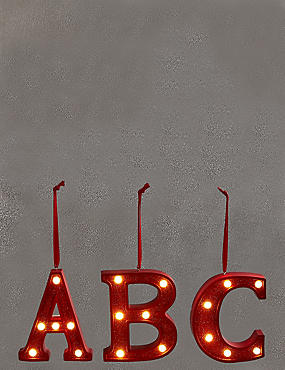 A-Z Light-up LED Red Alphabet Baubles