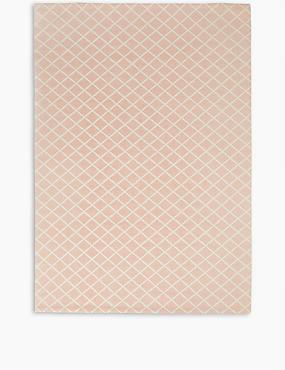 Printed Cotton Geometric Rug, DUSKY PINK, catlanding