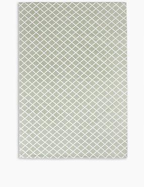 Printed Cotton Geometric Rug, SAGE GREEN, catlanding