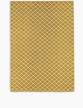 Printed Cotton Geometric Rug, OCHRE, catlanding