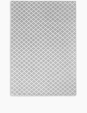 Printed Cotton Geometric Rug, GREY, catlanding