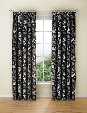 Floral Print Velvet Pencil Pleat Curtain, CHARCOAL MIX, catlanding