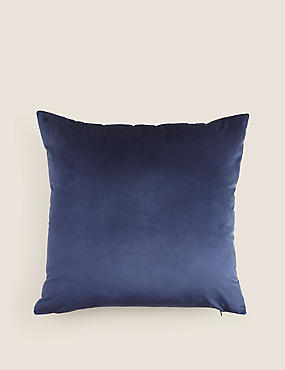 Velvet Cushion, NAVY, catlanding