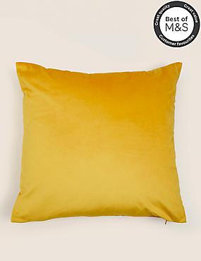 Velvet Cushion, DARK OCHRE, catlanding