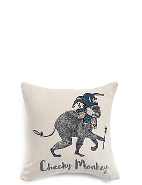 Cheeky Monkey Embroidered Cushion