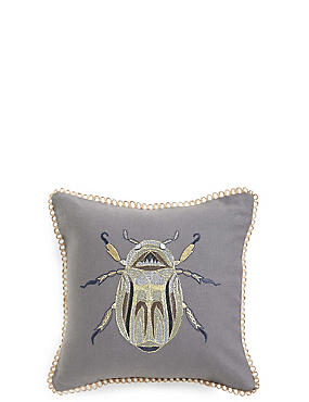 Beetle Embroidered Mini Cushion