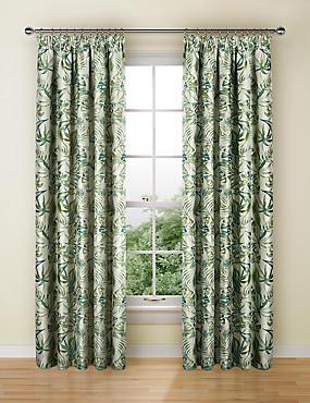 Botanical Jacquard Pencil Pleat Curtains, GREEN MIX, catlanding