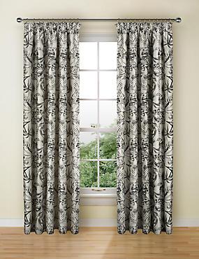 Botanical Jacquard Pencil Pleat Curtains, GREY MIX, catlanding