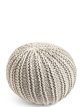 Grey Knitted Pouffe