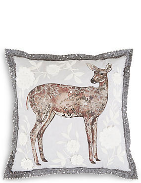 Embellished Deer Cushion