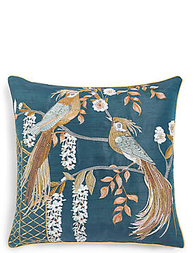 Ophelia Birds Embellished Cushion