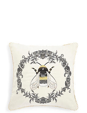 Bee Scroll Embroidered Cushion