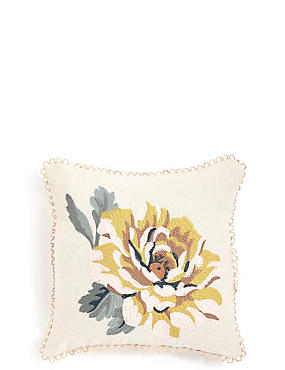 Mini Embroidered Flower Cushion