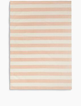 Striped Cotton Rug, DUSKY PINK, catlanding
