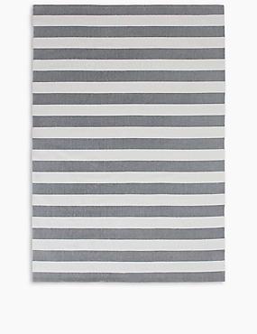 Striped Cotton Rug, GREY, catlanding