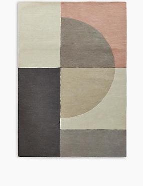 Pure Wool Colour Block Rug, PINK MIX, catlanding