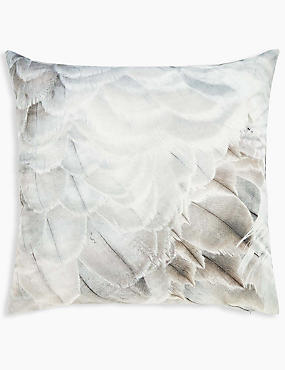 Oversized Velvet Feather Print Cushion, NATURAL MIX, catlanding