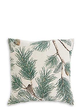 Pine Jacquard Cushion, GREEN MIX, catlanding
