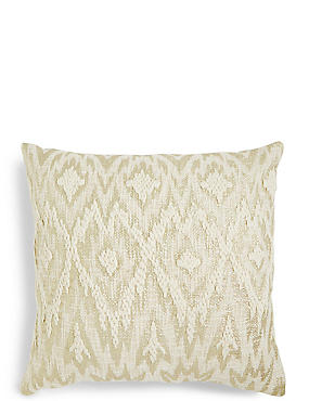Metallic Print Embroidered Cushion
