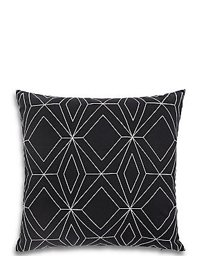 Stitched Geometric Print Cushion