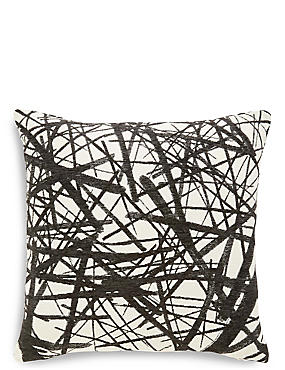 Monochrome Line Print Cushion