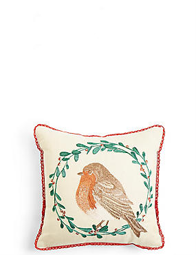 Mini Robin Embroidered Cushion, , catlanding