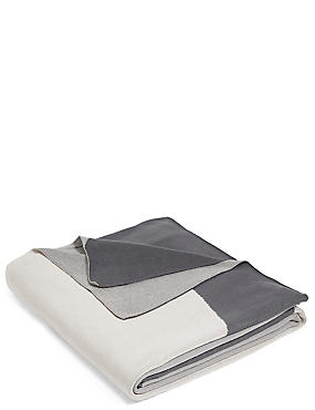 Colour Block Knitted Throw, GREY MIX, catlanding