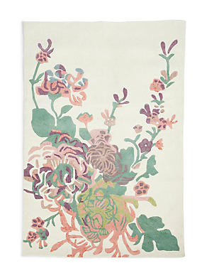 Statement Floral Rug, GREEN MIX, catlanding