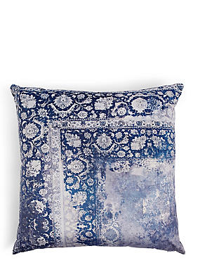 Oversized Velvet Vintage Print Cushion, NAVY MIX, catlanding
