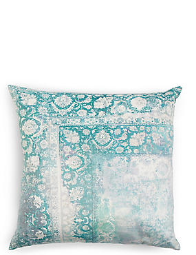 Oversized Velvet Vintage Print Cushion, GREEN MIX, catlanding