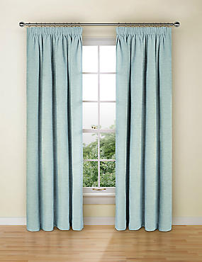Spot Chenille Pencil Pleat Curtain, DUCK EGG, catlanding