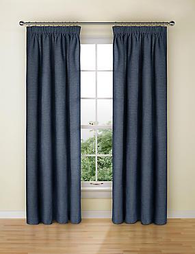 Spot Chenille Pencil Pleat Curtain, NAVY, catlanding