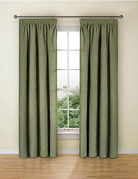 Spot Chenille Pencil Pleat Curtain, GREEN, catlanding