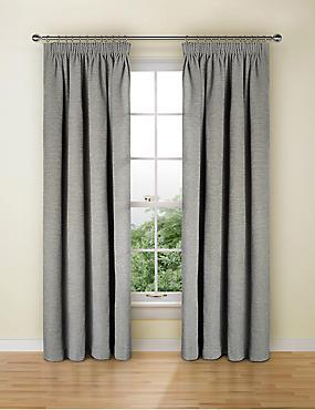 Spot Chenille Pencil Pleat Curtain, GREY, catlanding