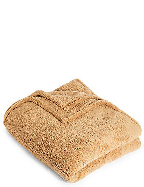 Teddy Fleece Throw, CARAMEL, catlanding
