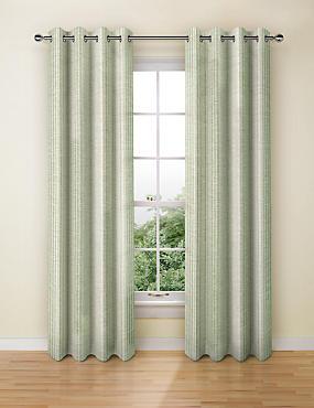 Wide Stripe Eyelet Curtains, SOFT GREEN, catlanding