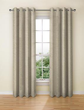 Wide Stripe Eyelet Curtains, NATURAL MIX, catlanding