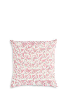 Willow Leaf Print Cushion, SOFT PINK, catlanding