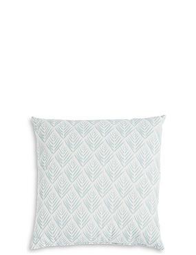 Willow Leaf Print Cushion, DUCK EGG, catlanding