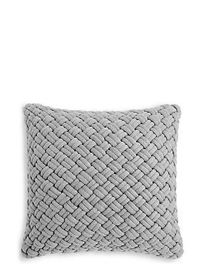 Jersey Weave Cushion, GREY MARL, catlanding