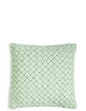 Jersey Weave Cushion, GREEN MARL, catlanding